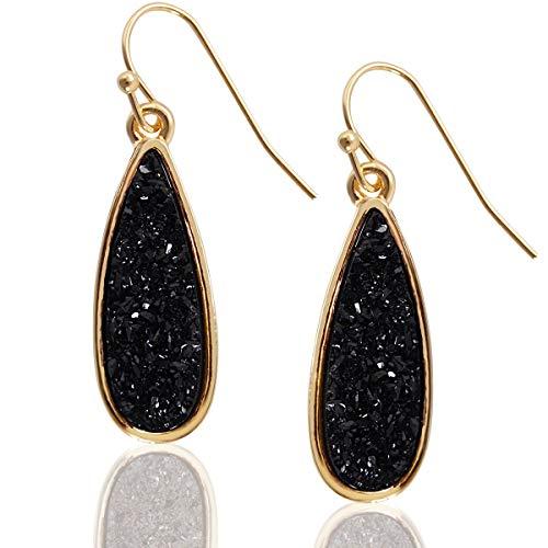 Humble Chic Simulated Druzy Drop Dangles - Boho Glitter Long Teardrop Dangly Earrings for...