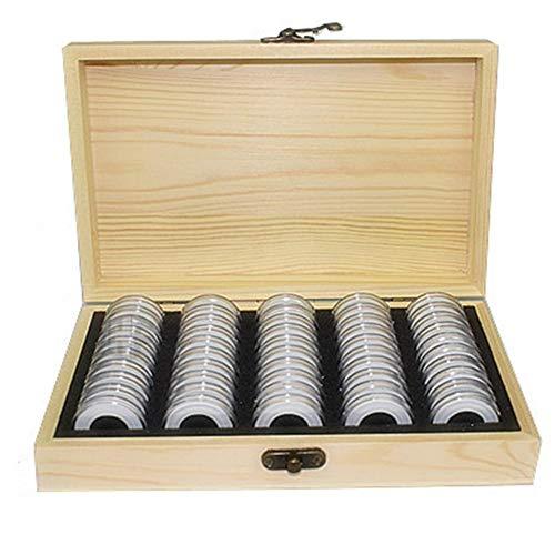 50 Pièces Capsules De Monnaie Boîte De Rangement en Bois - Porte-Monnaie Case pour Rangement Pièces De Monnaie - Coin Collection Box Pour18mm/21mm/25mm/27mm/30mm pièces commémoratives