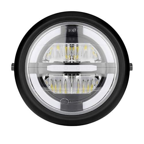 12V Universal Motorcycle Footlight Lámpara de 7.5 Pulgadas Motorbike Refit Faro Faro Negro Ronda Asamblea (Color : Yellow Light Colors)