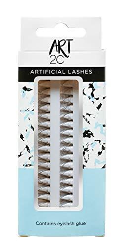 Art 2C - T10 Faux cils individuels avec colle de haute qualité, 60 cils par boîte, 10 mm, Noir