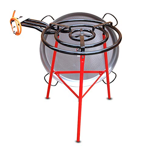 Vaello Campos Catering Paella Kit - 60cm Gas Burner, 80cm Steel Pan & Reinforced Tripod