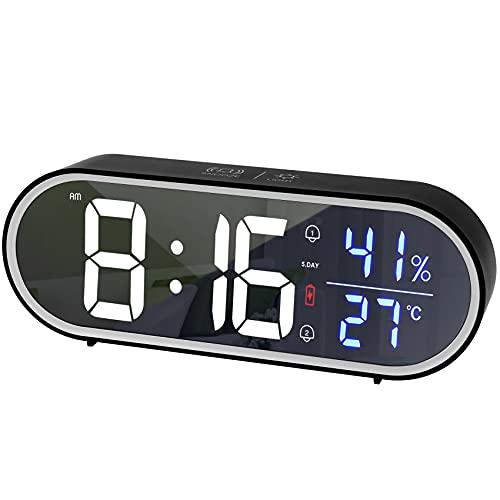 tronisky Reloj Despertador Digital, LED Pantalla Reloj Alarma Inteligente con Temperatura/Humedad, Función Snooze, Alarma Doble, Puerto de Carga USB, 40 Música, 5 Brillo Ajustable, Negro