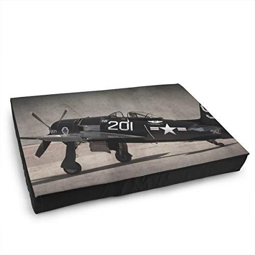 Jacklee Hond Kat Bed met Orthopedisch Schuim en Wasbaar Anti-slip Cover, Vintage Vliegtuig Militaire Vliegtuigen Leger