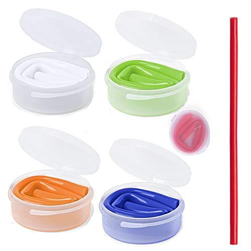 Natuiahan Pack de 5 Pajitas de Silicona Reutilizables Pajitas Flexibles y Plegables para Viajar con Estuche Individual de Transporte y Almacenamiento. Extra Largas de 25 cm. Colores Brillantes