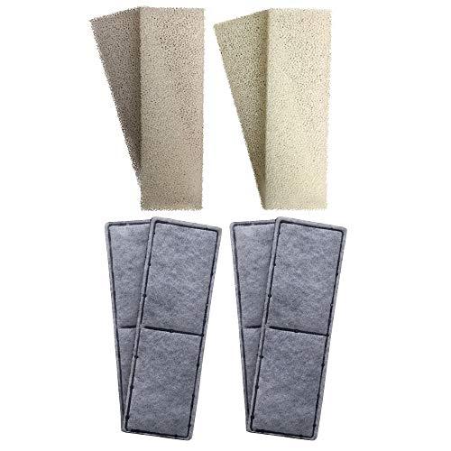 4 espumas compatibles y 4 cartuchos de filtro de carbono de policarbonato compatible para adaptarse al filtro interno Fluval U3