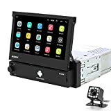 Hikity Android 1 Din Car Stereo 7 Inch Flip Out Touch Screen Radio Receicer Supports FM Bluetooth WiFi GPS Navigation Mirror Link for Phone Android/iOS + Backup Camera