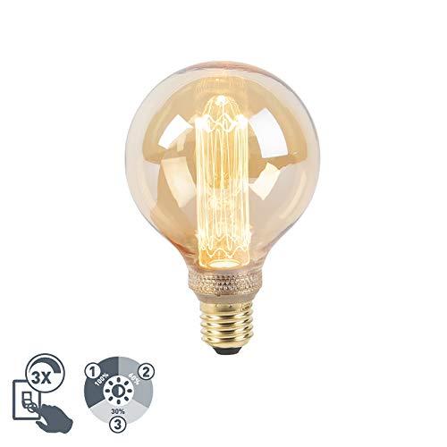 LUEDD LED lamp G95 E27 5W 1800K amber 3-staps dimbaar