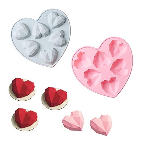 Ltsbaed 3D Cœur Forme Diamant Moule en Silicone Moule Silicone de Chocolat Mousse Gâteau de Forme Coeur Diamant pour la Bonbons Glaçons la Gelée Fondant Décoration Pâte à Sucre...