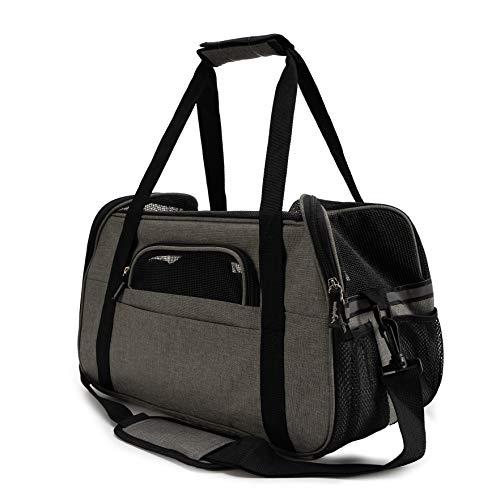 Zedelmaier Faltbare Hundetasche, Hundetragetasche, Katzentragetasche, Transporttasche Transportbox für Hunde und Katzen (M - 43 x 23 x 29 cm, Grau)