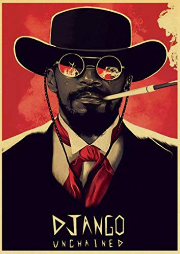 Weijiajia Classic Movie Quentin Tarantino Movie Django Unchained Retro Vintage Poster Wall Decor for Home Bar Cafe 50x70cm(19.68x27.55 in) F-998