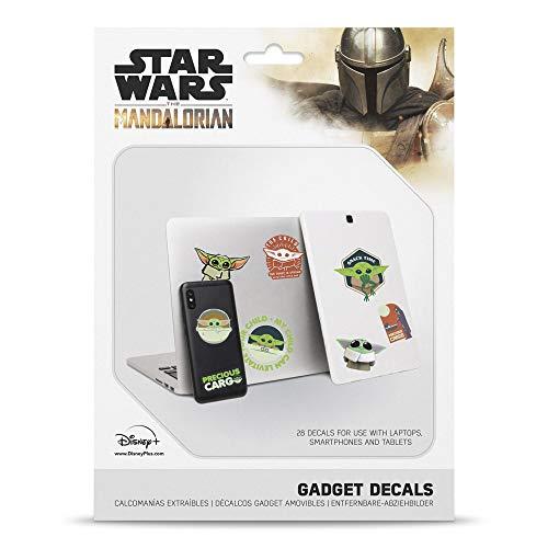 Grupo Erik - Pegatinas para portátiles Star Wars, The Mandalorian Baby Yoda, Grogu, 28 stickers reutilizables y resistentes al agua (GDGE004)