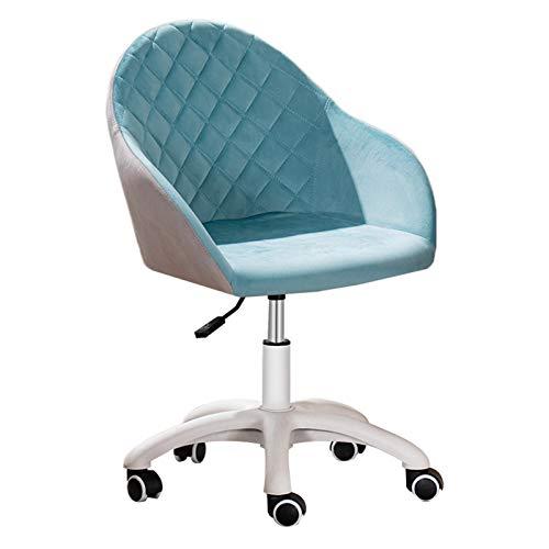 Schreibtischstuh Ergonomischer Drehbarer Bürostuhl Blue Crushed Velvet Fabric Home Office Stuhl 360 ° drehbare höhenverstellbare ergonomische Computertischstühle Anmutige Empfangsstühle