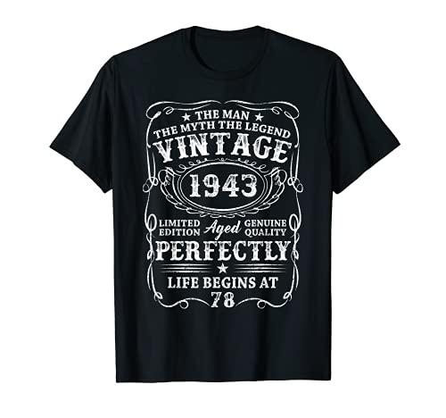 Uomo 78 Anni Compleanno Uomo Regalo Annata 1943 Vintage 1943 Maglietta
