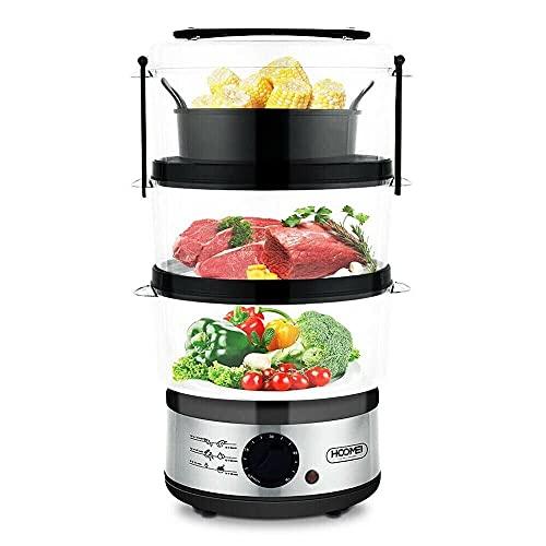 Vaporera Eléctrica 3 Recipientes Apilables Temporizador Robot de Cocina Comidas Cenas Olla...