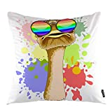 Funda de almohada de avestruz con diseño de avestruz con gafas de sol de arco iris, animales salvajes, funda de almohada cuadrada decorativa de 45,7 x 45,7 cm, decoración del hogar para sofá