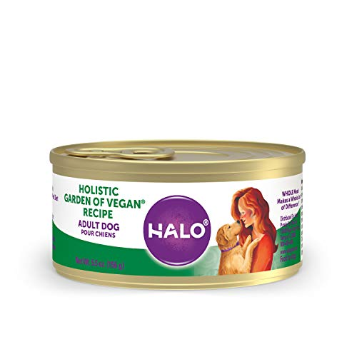 Halo Vegan Wet Dog Food - Premium and Holistic Garden of Vegan Recipe - 5.5oz Can (Pack of 12) - Sustainably Sourced Adult Wet Dog Food - Non-GMO and BPA Free
