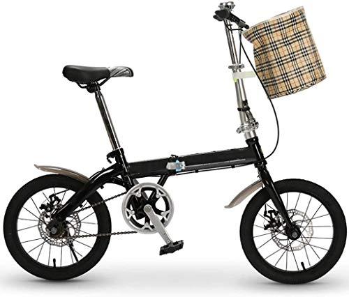 16 Pulgadas Bicicleta Bici Ciudad Plegables Adulto Hombre Mujer, Bicicleta de Montaña Btt MTB Ligero Folding Mountain City Bike Doble Suspension Bicicleta Urbana Portátil, H098ZJ