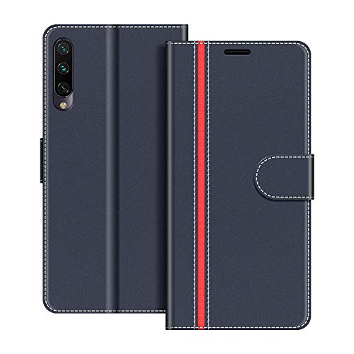 COODIO Funda Xiaomi Mi A3 con Tapa, Funda Movil Xiaomi Mi A3, Funda Libro Xiaomi Mi A3 Carcasa Magnético Funda para Xiaomi Mi A3, Azul Oscuro/Rojo
