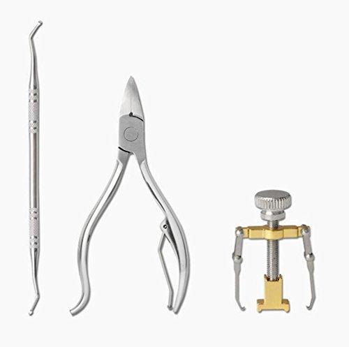 Ongles Incarnés Outil de correction des ongles incarnés Kit de traitement de correction des ongles Outil de pédicure Soin du traitement des ongles avec pousseur de cuticules pour peau morte