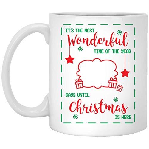N\A Tazas Divertidas de Navidad Wondeful Time Countdown diciembre, los Mejores Amigos, Familiares, compañeros de Trabajo, Taza de café con Leche, 11 oz