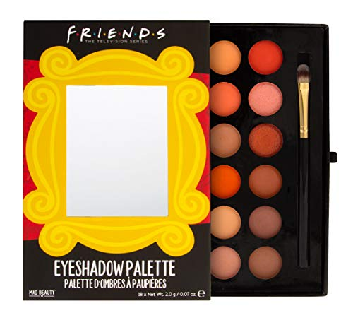 MAD BEAUTY Friends TV Show Make-Up Eyeshadow Palette with Brush, Gorgeous Neutral Colors for Everyday Beauty Looks and Routines, Easy-to-Use Shades, Warm Nudes, Browns, Oranges
