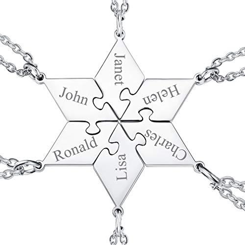 FaithHeart Colgantes Puzzle Hexágono Seis Juegos para Familia y Amigos Collares Dudaderos Acero Inoxidable 316L Regalo Personalizado San Valentín