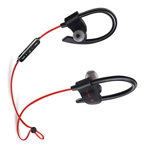 Wsaman Auriculares Deportivos, Auricular Bluetooth In-Ear con Cancelación de Ruido, para Trabajo y Deportes Viaje, Auriculares Deportivos,Rojo
