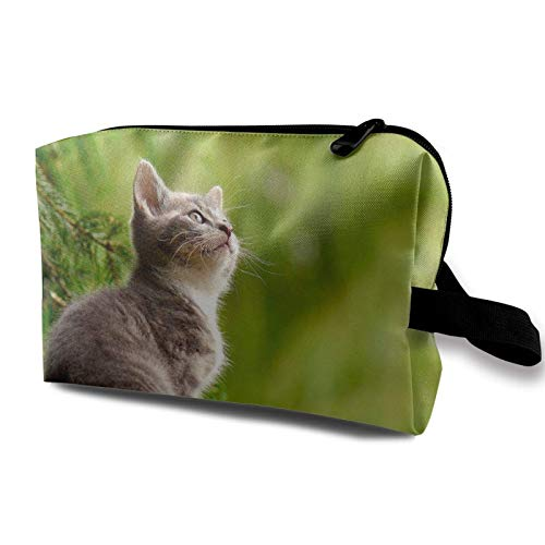 XCNGG Bolsa de almacenamiento de maquillaje de viaje, bolso de aseo portátil, pequeña bolsa organizadora de cosméticos para mujeres y hombres, gatito que se queda en madera