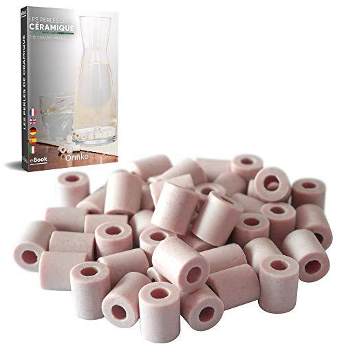 Orinko - 50 perlas de cerámica EM Rosas – Purifican el agua – Perfectas para jarra, botella, botella, cafetera, hervidor [Satisfacto o acolchado]
