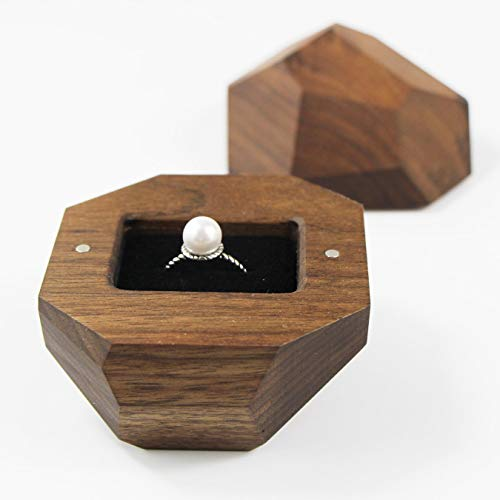 UOOOM Wooden Ring Box with Black Velvet Lining Engagement Ring Case (Walnut)