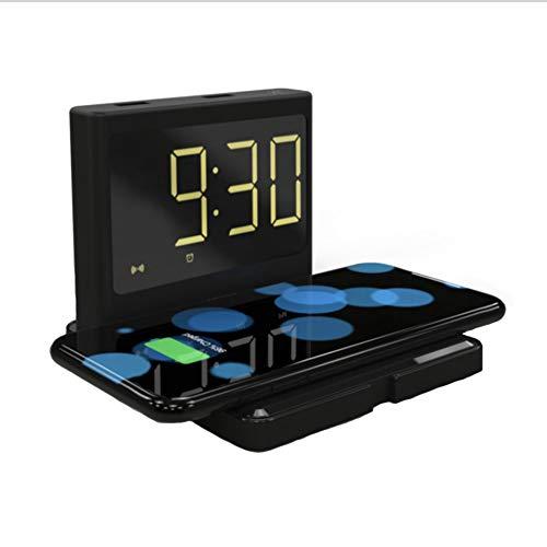 Cool Belle Reloj Despertador Digital con Carga inalámbrica y Pantalla LED de Calendario de Tiempo, Base de Carga inalámbrica Qi de 10 vatios para iPhone 11, XR, XS, X, 8, Galaxy S10 S9 S8.