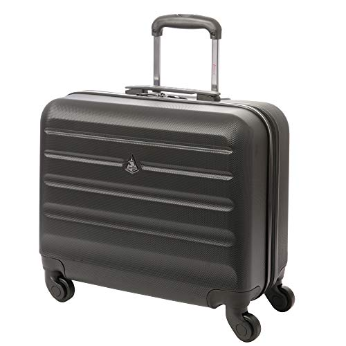 Aerolite Hard Shell Rolling Padded Laptop Case Bag on 4 Wheels - Fits up to 15.6', Overnight Trolley Business Hand Cabin Luggage Case Black