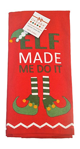 Casaba Holiday Set of 2 Christmas Collection Hand Guest Kitchen Bar Towels (100% Cotton Towels) Christmas Elf - Elf Made Me Do It