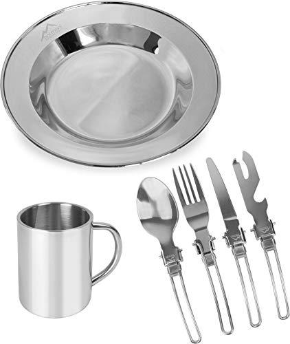 normani Outdoor Essgeschirr Set inkl. Teller, Besteck und Tasse aus 430er Edelstahl - Rostfrei