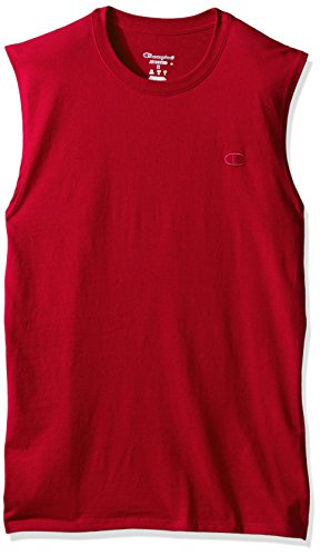 Champion Men's Classic Jersey Muscle T-Shirt, Scarlet, XL