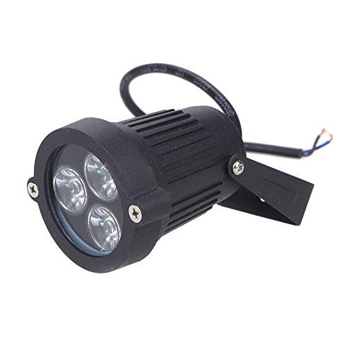 3-LED Foco Lampara - SODIAL(R)3 LED Foco sumergible del jardin / cesped / paisaje luz del piso Lampara impermeable 6W Verde