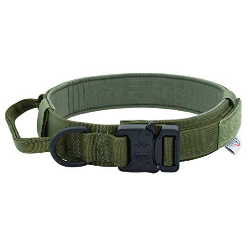 TUBERK Tactical Dog Collar – K9 Tactical Collar for Dogs – Brown, Black, or Green Nylon Adjustable Dog Collar – Medium, Large, and X-Large Metal Buckle Dog Collar (L (17'- 20,5'), Ranger Green)