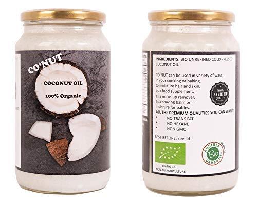 Co'NUT Aceite de coco Virgen Extra Orgánico - Para uso Estético, en Cocina y Masajes, 1000 ml