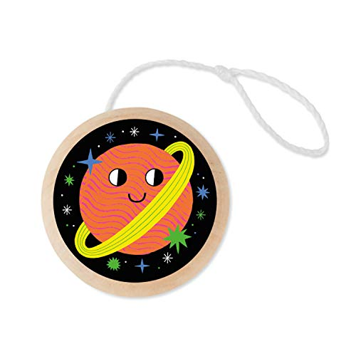 Mudpuppy Planet Wooden Yo-Yo – Beginner Yo-Yo for Ages 6 and Up, Dual-Sided Full Color Artwork – Step-by-Step Instructions Included, Classic Yo-Yo for Kids, Makes A Great Gift Idea, Multicolor