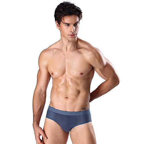 HUABEI Men's Triangle Modal Ice Mesh Hole Breathable Underwear A-1 Youth Middle Waist Sports Sexy Underwear A-1 Men's briefsA-1Dark blueA-1XXXL Z1