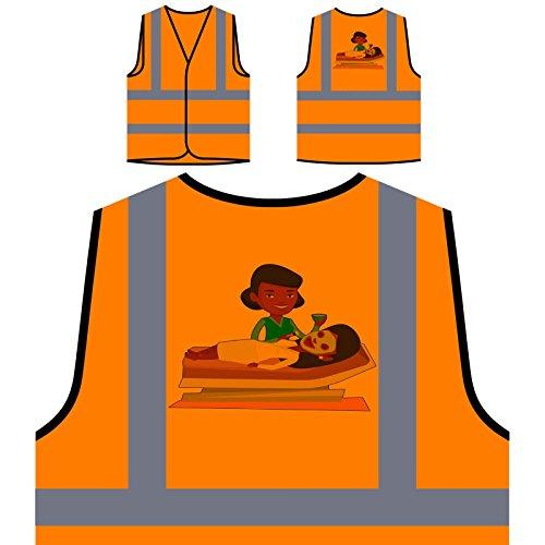 Kosmetikerin Maske Personalisierte High Visibility Orange Sicherheitsjacke Weste q613vo