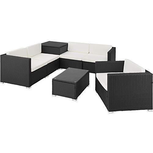 TecTake 800677 XXL Polyrattan Sitzgruppe, frei zu gruppierende Elemente, inkl. Aufbewahrungsbox mit Hubautomatik für Polster, Tisch mit Glasplatte – Diverse Farben – (Schwarz | Nr. 403076)
