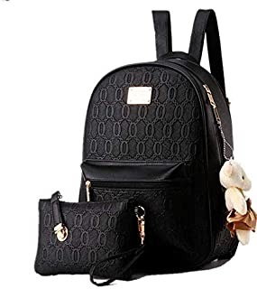 Fashion 2 Pieces Backpack Set for Women and Girls (Black)