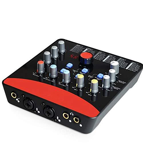 ZXCV Tarjeta de Sonido Externa Profesional 2 entradas de micrófono / 1 Entrada de Guitarra, 2 Salidas Interfaz de grabación USB 48V Equipado con alimentación