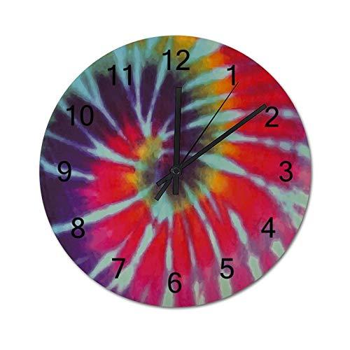 None-brands Reloj de pared con patrón de remolino colorido circular, 30,48 cm, silencioso, de madera, digital, funciona con pilas, decorativo, para cocina, hogar, sala de estar, oficina