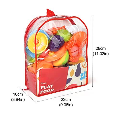 kramow Corte de Frutas y Alimentos Falsos,Alimentos Juguetes Niños 3 Años,Accesorios de Cocina