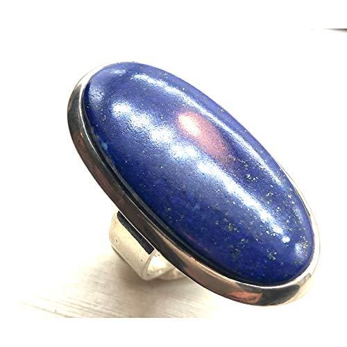 Colección Zanzybar – Anillo de Plata 925 Grande Ajustable con Piedra Ovalada lapislázuli Modelo Lazlo Talla 58
