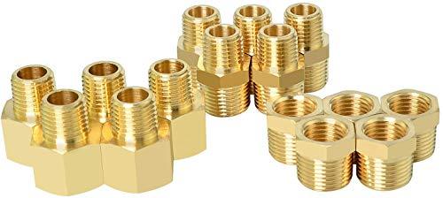 Gasher 15PCS Brass Pipe Fitting, Hex Bushing, Reducer Adapter, Reducing Hex Nipple 1/2 Inch NPT x 1/4 Inch NPT