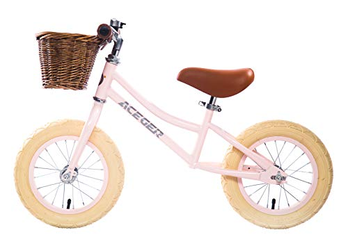 ACEGER Balance Bike with Basket for Kids, Ages 2.5 to 5 Years(Pink