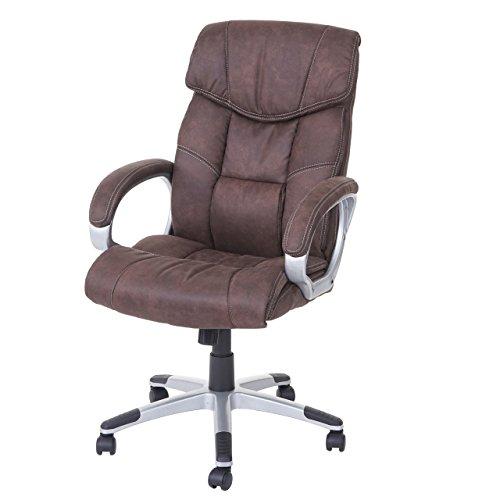 Mendler Bürostuhl HWC-A71, Chefsessel Drehstuhl Schreibtischstuhl, Stoff/Textil - Wildleder-Optik Vintage braun
